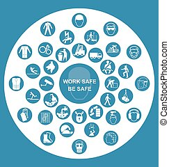saúde, ícone, segurança,  col,  circular