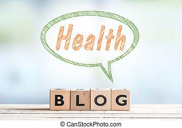 saúde, blog, mensagem, sinal, ligado, um, tabela