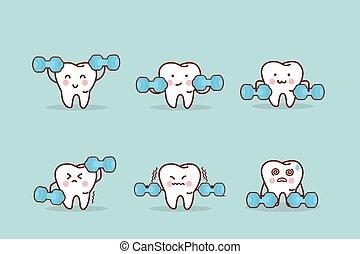 saúde, caricatura, dente, com, dumbbell