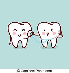 saúde, caricatura, dente, com, estetoscópio