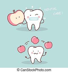 saúde, caricatura, dente, com, maçã