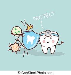 saúde, caricatura, dente, protetor