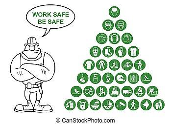 saúde, coll, piramide, segurança, ícone