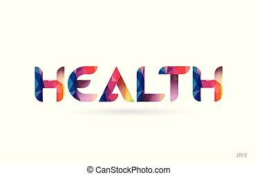 saúde, colorido, arco íris, palavra, texto, suitable, para, logotipo, desenho