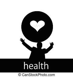 saúde coração, vetorial, silueta, homem