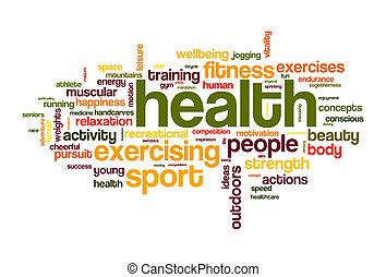 saúde, desporto, palavra, nuvem