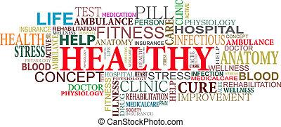 saúde, e, cuidado, etiquetas, nuvem