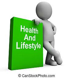 saúde, e, estilo vida, livro, com, personagem, mostra, vivendo saudável