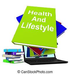 saúde, e, estilo vida, livro, pilha, laptop, mostra, vivendo saudável