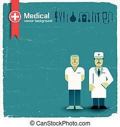 saúde, fundo, ilustração, doutor