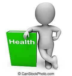 saúde, livro, e, personagem, mostra, livros, aproximadamente, estilo vida saudável