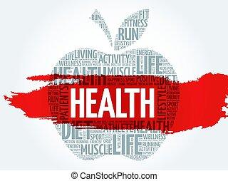saúde, maçã, palavra, nuvem