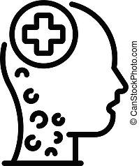 saúde mental, ícone, estilo, esboço