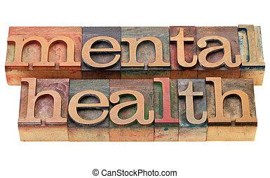 saúde mental, em, letterpress, tipo