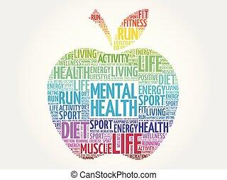 saúde mental, maçã, palavra, nuvem