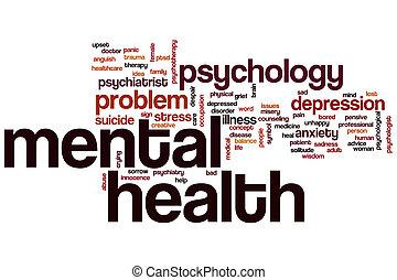 saúde mental, palavra, nuvem