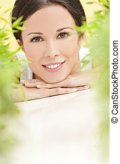 saúde natural, conceito, mulher bonita, sorrindo