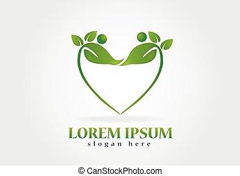 saúde, natureza, folheia, logotipo