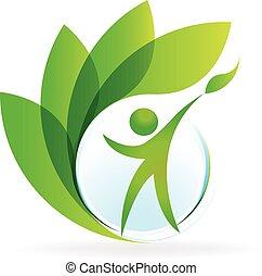 saúde, natureza, logotipo, vetorial