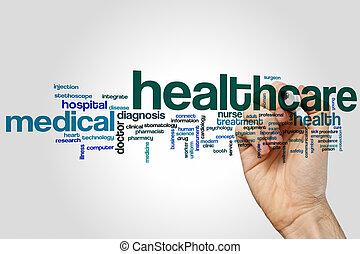 saúde, palavra, nuvem, cuidado