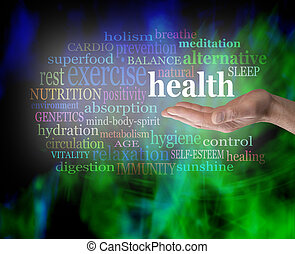 saúde, palma, seu, mão