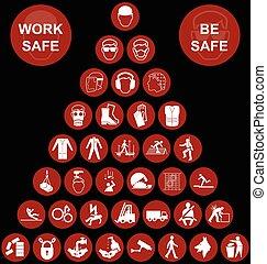 saúde, piramide, segurança, vermelho, ícone