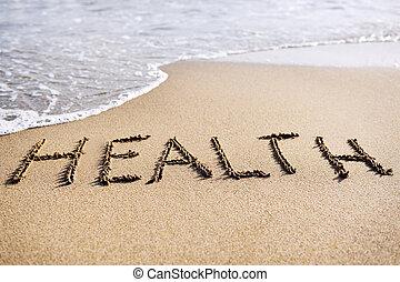saúde, praia areia, palavra, escrito