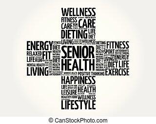 saúde, sênior, palavra, nuvem