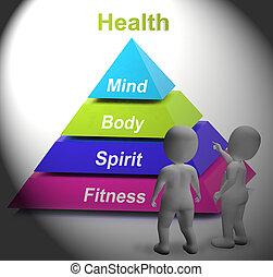 saúde, símbolo, mostra, condicão física, força, e, wellbeing