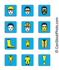 saúde segurança, ícones, jogo