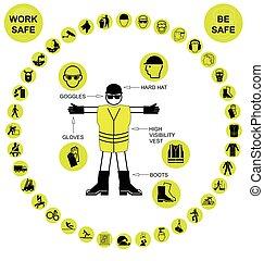saúde, segurança, amarela,  circular