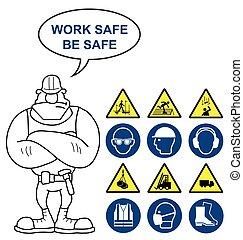 saúde segurança, e, perigo, sinais