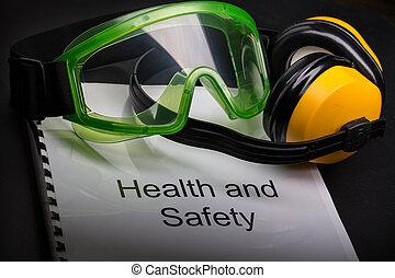 saúde segurança, registo, com, óculos proteção, e, fones...