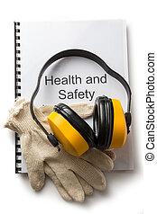 saúde segurança, registo, com, fones ouvido