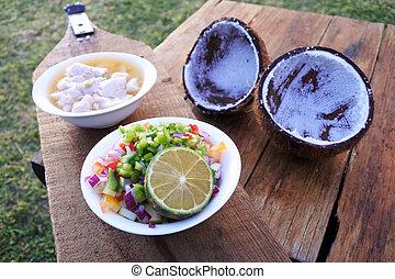 sałata, kokoda, jadło, fish, -, surowy, fidżyjczyk