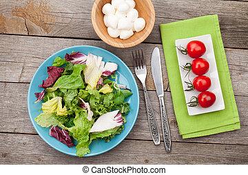 sałata, pomidory, zdrowy, drewniany, świeży, stół, mozzarella