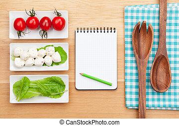 sałata, pomidory, zdrowy, notatnik, s, świeży, kopia, mozzarella