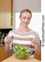 sałata, przygotowując, kobieta