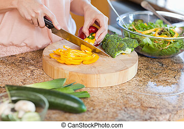 sałata, przygotowując, kobieta, zdrowy