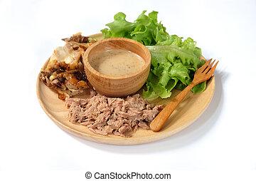 sałata, zdrowe jadło, roślina, swojski, tuńczyk, kurczak