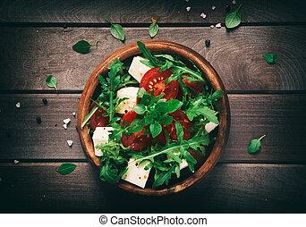 sałata, zdrowy, jadło., drewniany, roślina, stół.