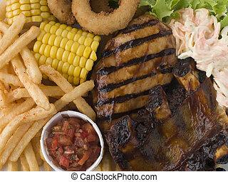 sałatka z kapusty, wręgi, smaży, salsa, kurczak, barbeque