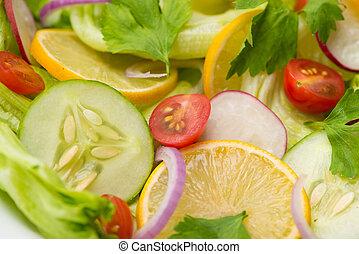 sałatkowa zieleń, swojski, świeża roślina, close-up., stół.
