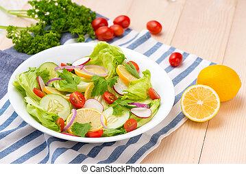 sałatkowa zieleń, swojski, roślina, świeży, stół.