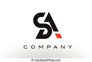 SA Logo.  Letter Design Vector.