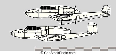 Saab 21. Outline vector drawing