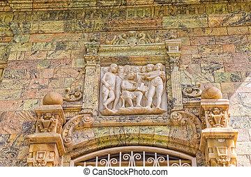 Saadabad Palace relief - Relief above the entrance door of...