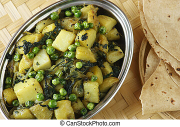Saag Aloo Bhuna Potato and Spinach dish - Spinach and potato...