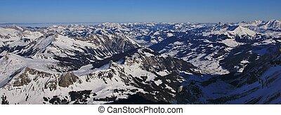 saanenland, vallée, sur, a, hiver, morning., vue, depuis, glacier, from, diablerets, switzerland.
