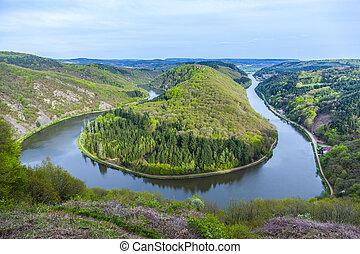 Saar loop at Mettlach, famous view point - Saar loop at ...